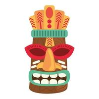 tiki tribal wooden mask decoration isolated on white background vector