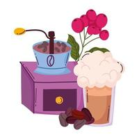 coffee brewing methods, manual grinder frappe and seeds vector