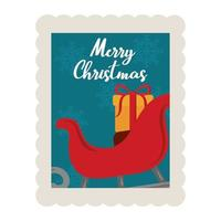 merry christmas sled with gift box decoration stamp icon vector