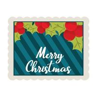 merry christmas holly berry and stripes background decoration stamp icon vector