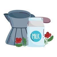 métodos de preparación de café, caja de leche cezve turca y frijoles vector