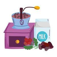 métodos de preparación de café, caja de leche manual de molinillo y semillas vector