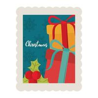 merry christmas gift boxes and holly berry decoration stamp icon vector