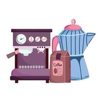 coffee brewing methods, espresso machine package and moka pot vector
