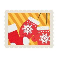 merry christmas mittens and stocking decoration stamp icon vector
