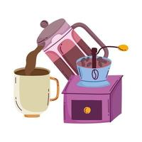 coffee brewing methods, kettle pouring in cup and grinder manual vector