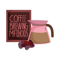 coffee brewing methods, kettle dry seeds and restaurant board vector