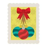 merry christmas decorative balls with bow stamp icon vector