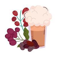 métodos de preparación de café, frijoles y granos secos frescos frapper vector