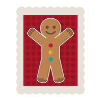 merry christmas gingerbread man cartoon decoration stamp icon vector