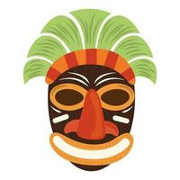 tiki tribal wood carving mask isolated on white background