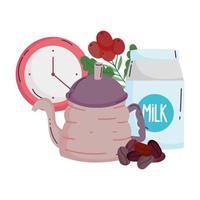métodos de preparación de café, hervidor de agua y reloj con frijoles vector