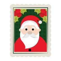 merry christmas santa claus and holly berry decoration stamp icon vector