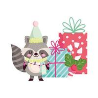 merry christmas, cute raccoon with gifts and candy cane icon isolation vector
