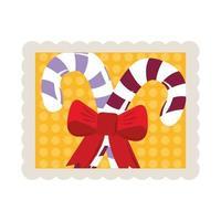 Feliz Navidad bastones de caramelo con icono de sello de decoración de arco vector