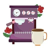 coffee brewing methods, espresso machine cup and seeds vector