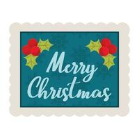 merry christmas calligraphy holly berry and snowflakes background decoration stamp icon vector