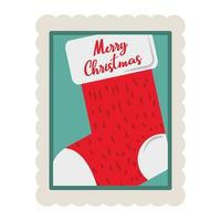 merry christmas stocking with lettering decoration stamp icon vector
