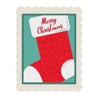 Feliz Navidad calcetín con letras icono de sello de decoración vector