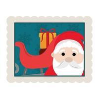 feliz navidad santa claus trineo con caja de regalo decoración icono de sello vector