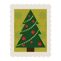 merry christmas pine tree balls decoration stamp icon