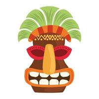 tiki tribal wooden ethnic mask isolated on white background