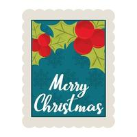 merry christmas holly berry and snowflakes background decoration stamp icon vector