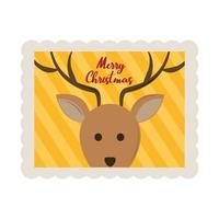 merry christmas cute reindeer face decoration stamp icon vector
