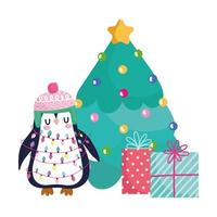 merry christmas, penguin with tree and gifts celebration icon isolation