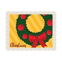 merry christmas wreath with balls and bow decoration stamp icon vector