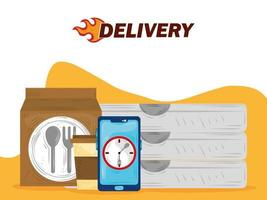 fast delivery online smartphone app food service vector