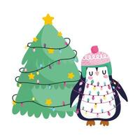 merry christmas, penguin with tangled lights and tree celebration icon isolation