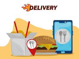 fast delivery smartphone online food order service vector