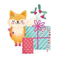 feliz navidad, lindo zorro con bastón de caramelo y regalos celebración icono aislamiento vector