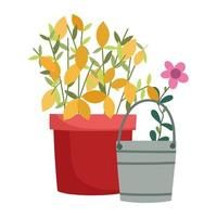 gardening, watering can flower and potted plant nature isolated icon style vector