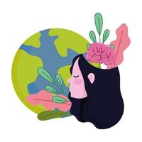 world mental health day, girl with planet brain leaves in head cartoon vector