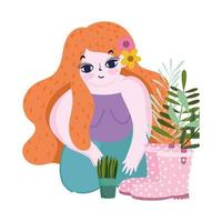 happy garden, girl with flower in hair, potted plant boots flowers nature vector