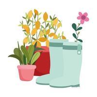 happy garden, green boots plants in pots flower decoration vector