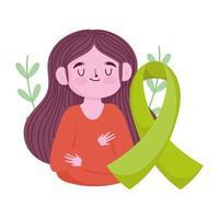 día mundial de la salud mental, niña cinta verde conciencia médica vector