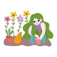 happy garden, girl with green hairstyle floral planting plants in pot flowers fruit vector