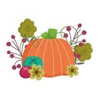 feliz día de acción de gracias, flores de calabaza, frutas, vegetación, follaje, celebración