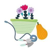jardín feliz, flores en carretilla pala rastrillo calabaza vector