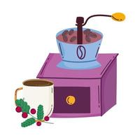 coffee brewing methods, manual grinder cup and branch with grains vector