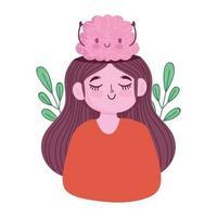 día mundial de la salud mental, retrato de niña con dibujos animados de cerebro vector