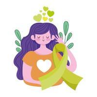 día mundial de la salud mental, niña, cinta verde, conciencia, corazones vector
