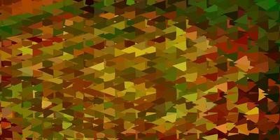 Dark green, yellow vector triangle mosaic background.