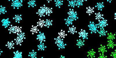 Fondo de vector azul oscuro, verde con símbolos covid-19