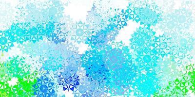 textura de vector azul claro, verde con copos de nieve brillantes.