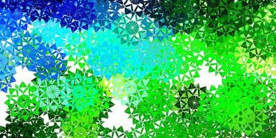 Fondo de vector azul claro, verde con copos de nieve de Navidad.