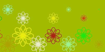 Light Green, Yellow vector template with curved lines.